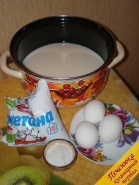 Для брынзы домашнего приготовления понадобится:<br /> - 1 литр молока (пастеризованного или домашнего);<br /> - 200 гр сметаны (вполне подойдет 15%);<br /> - 3 яйца;<br /> - соль.