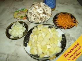 1) Для того, чтобы приготовить грибной суп с сыром, нужно иметь в запасе совсем немного продуктов. Картофель надо помыть, почистить, нарезать кубиками, опустить в кипящую подсоленную воду.Грибы промыть и порезать пластинками, морковь и лук подготовить для пассерования.