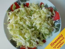 3) И нарежем капусту. Поместим в кастрюлю и поварим в подсоленной воде ее около получаса. Это если капуста молодая. Если старая, то дольше.