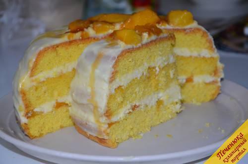бисквитный торт с персиками с желе рецепт с фото
